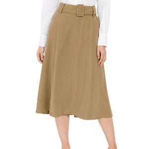 Alfani Light Nutmeg Belted A-Line Midi Skirt Sz 6